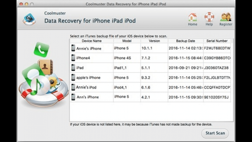 Coolmsuter Data Recovery for iPhone iPad iPod for Mac - review, screenshots