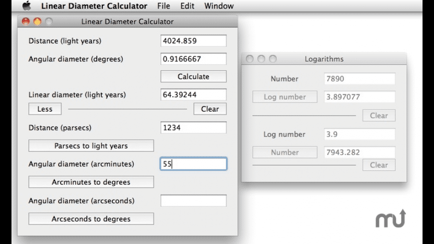 Linear Diameter Calculator for Mac - review, screenshots