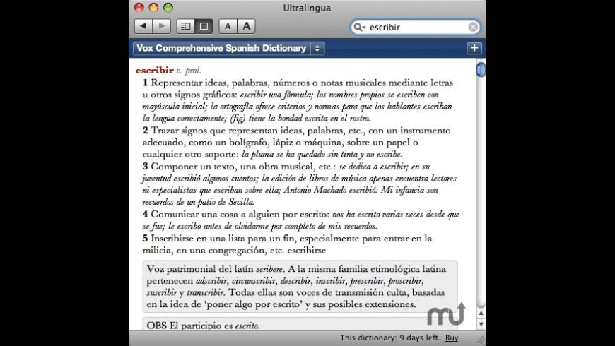 Vox Comprehensive Spanish Dictionary for Mac - review, screenshots
