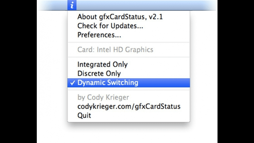 gfxCardStatus for Mac - review, screenshots