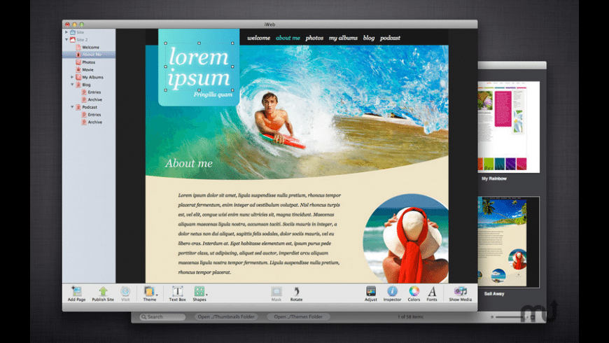 Themes for iWeb for Mac - review, screenshots