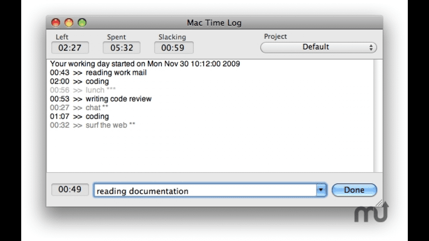 MacTimeLog for Mac - review, screenshots