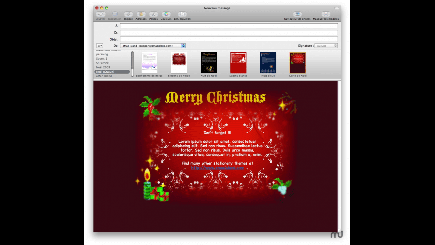 Christmas Free Mail Stationery for Mac - review, screenshots