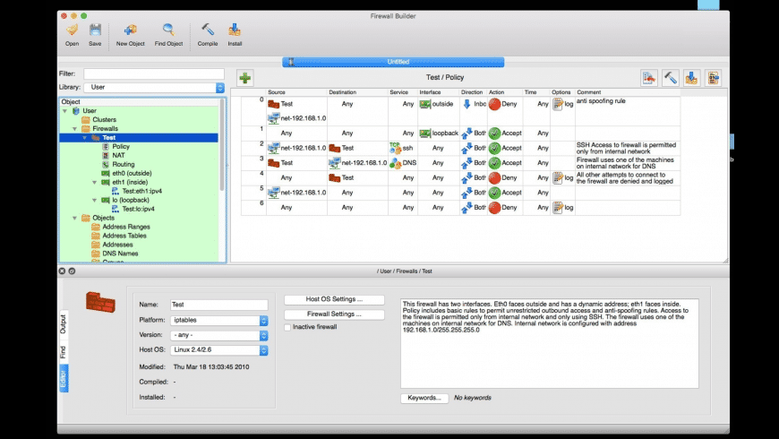 Firewall Builder for Mac - review, screenshots