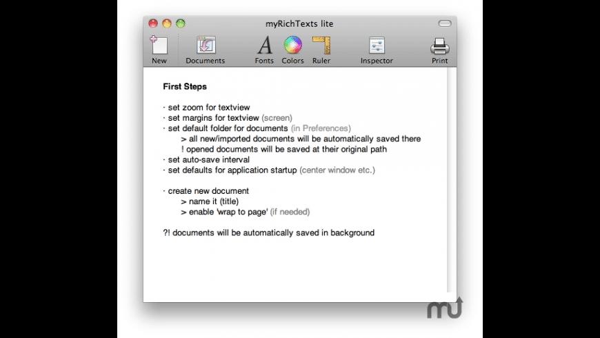 myRichTexts lite for Mac - review, screenshots