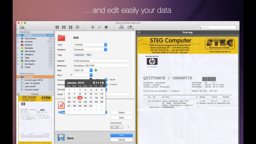 Alinof Archives for Mac - review, screenshots