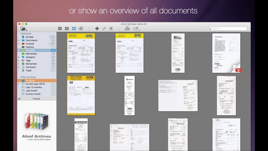 Alinof Archives for Mac - review, screenshots