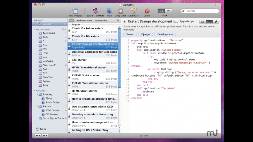 Snippets for Mac - review, screenshots