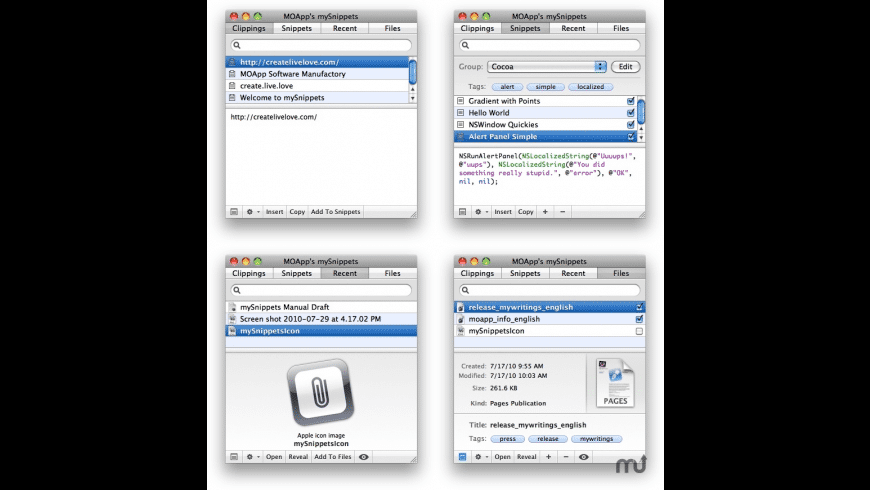 mySnippets for Mac - review, screenshots