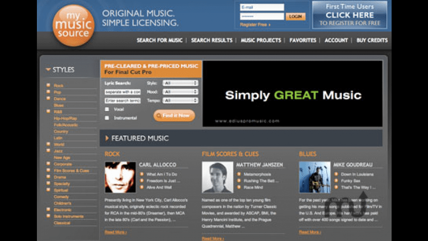 MyMusicSource FCP Plugin for Mac - review, screenshots