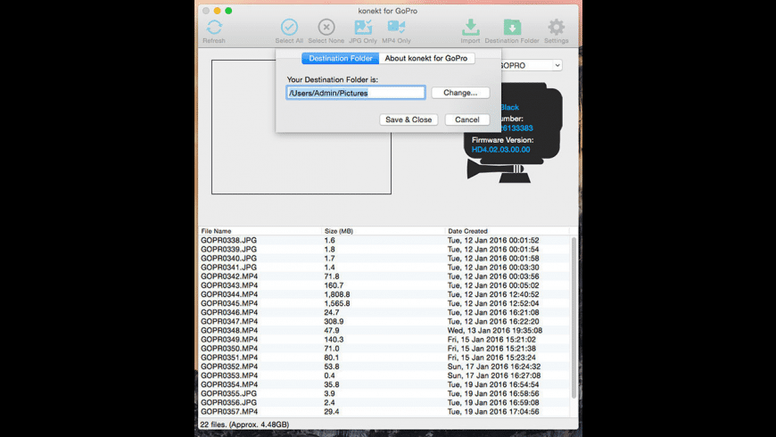 konekt for GoPro for Mac - review, screenshots