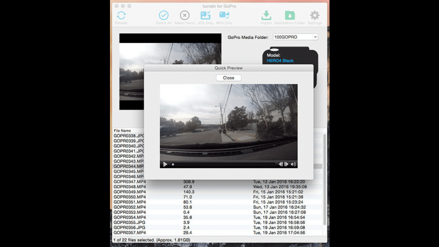 konekt for GoPro for Mac - review, screenshots