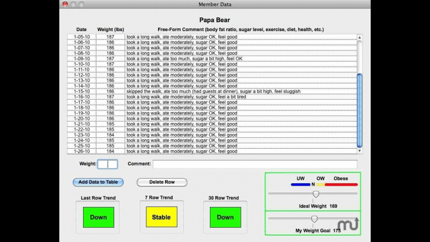 Weight Logger for Mac - review, screenshots