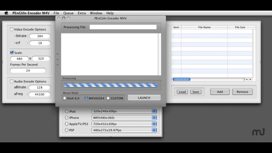 PEnGUIn Encoder M4V for Mac - review, screenshots