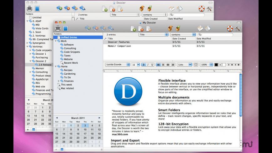 Dossier for Mac - review, screenshots