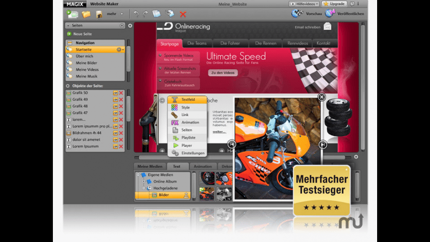 MAGIX Website Maker for Mac - review, screenshots