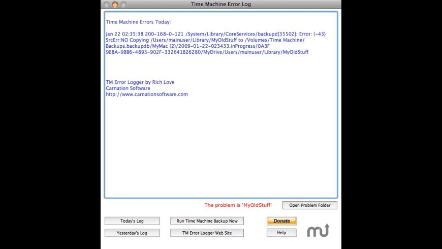 TM Error Logger for Mac - review, screenshots