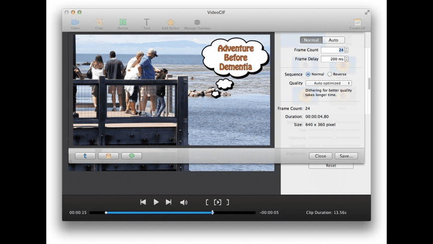 VideoGIF for Mac - review, screenshots