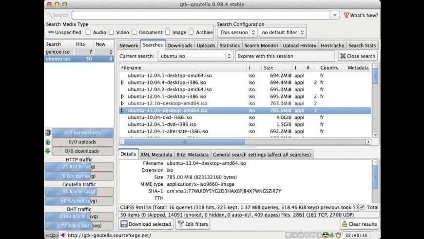 Gtk-Gnutella for Mac - review, screenshots