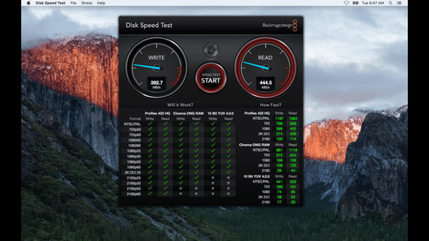Blackmagic Disk Speed Test for Mac - review, screenshots