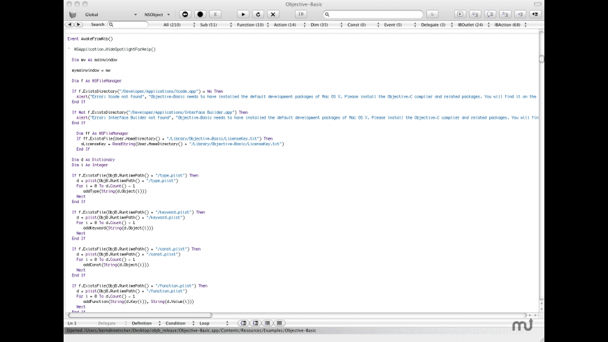 Objective-Basic for Mac - review, screenshots