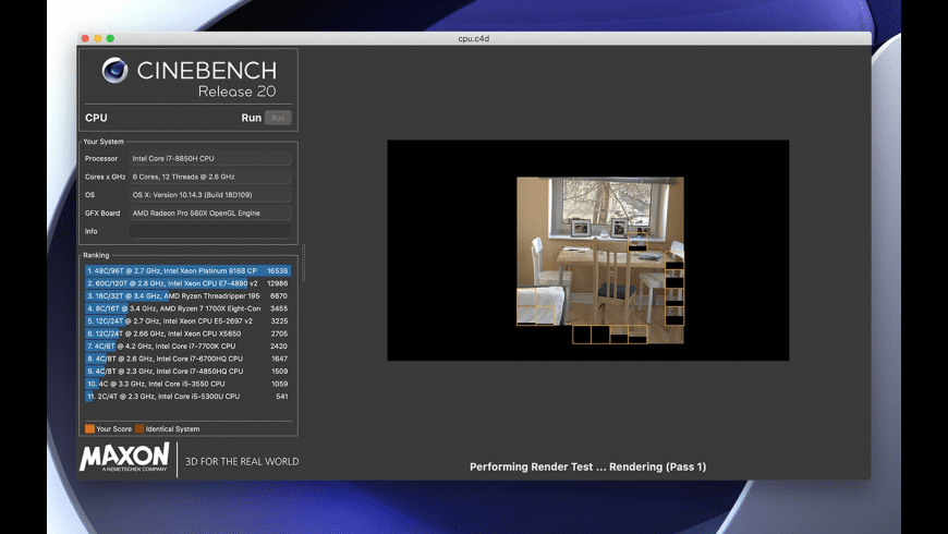 Cinebench for Mac - review, screenshots