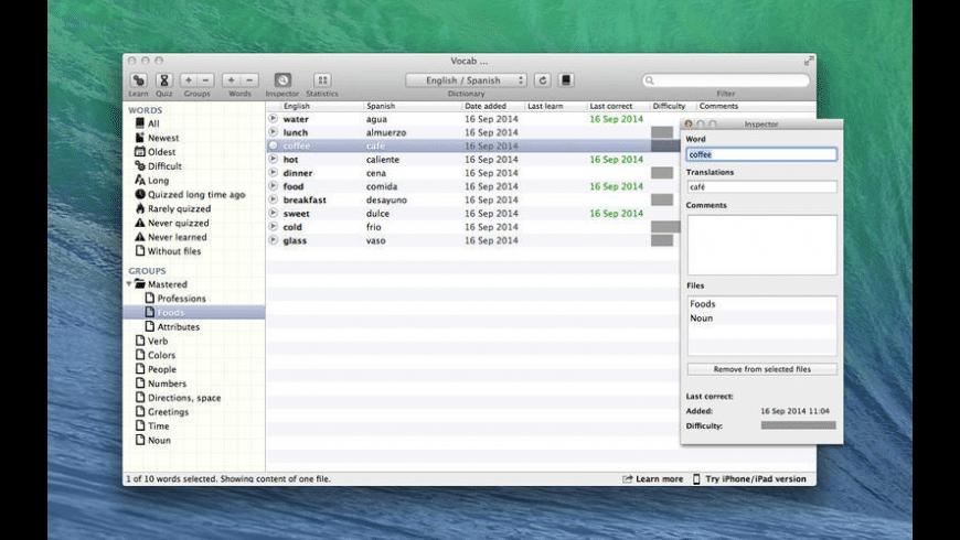 Vocab for Mac - review, screenshots