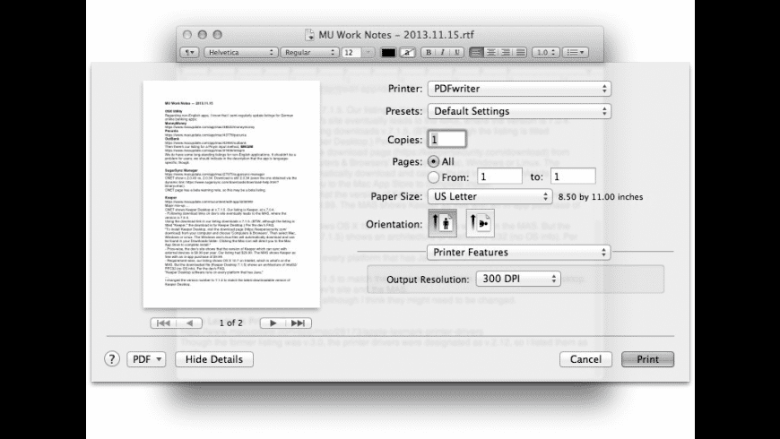 PDFwriter for Mac - review, screenshots