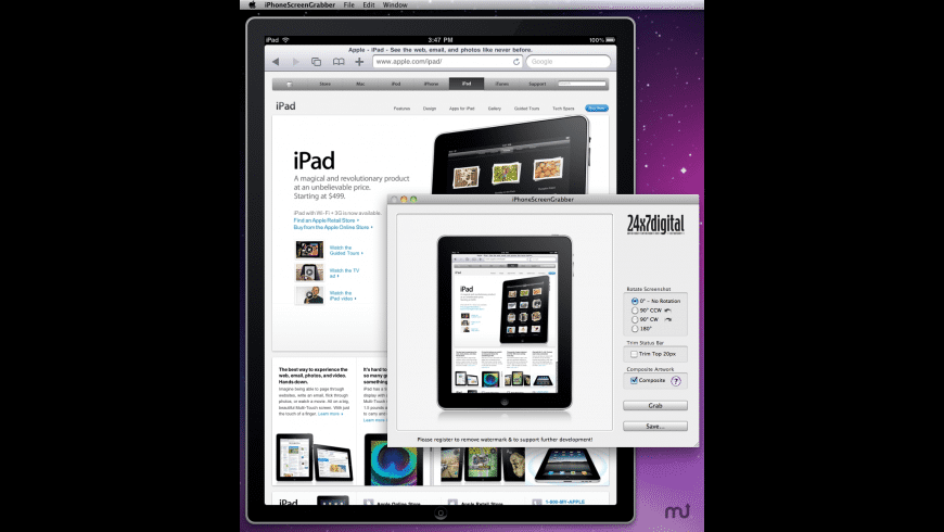 iPhoneScreenGrabber for Mac - review, screenshots