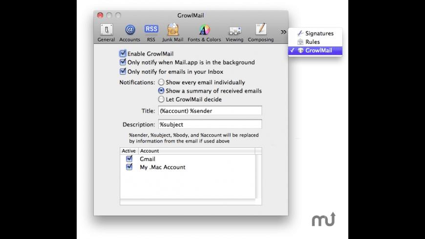 GrowlMail for Mac - review, screenshots