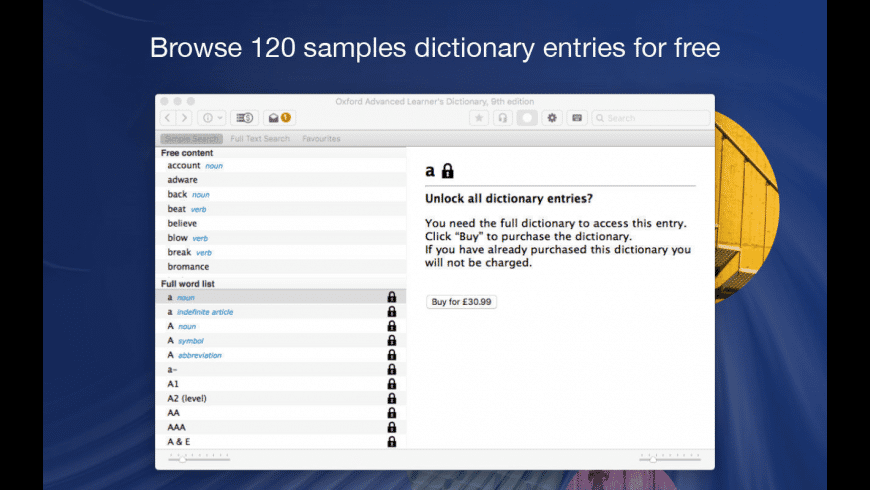 Oxford Advanced Learner's Dictionary for Mac - review, screenshots