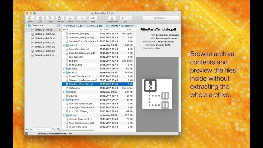 BetterZip for Mac - review, screenshots