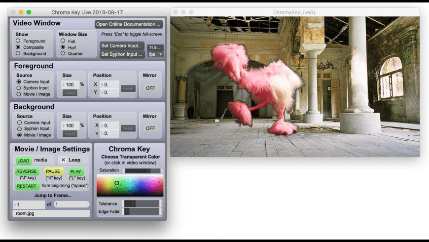 Chroma Key Live for Mac - review, screenshots