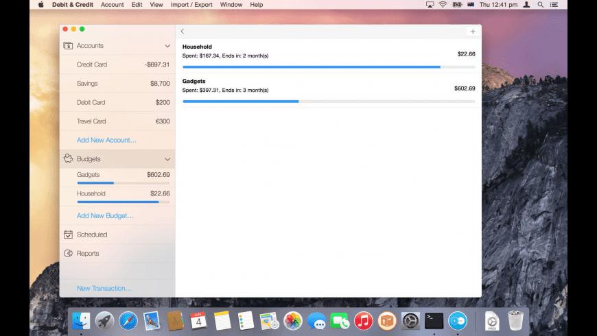 Debit & Credit for Mac - review, screenshots