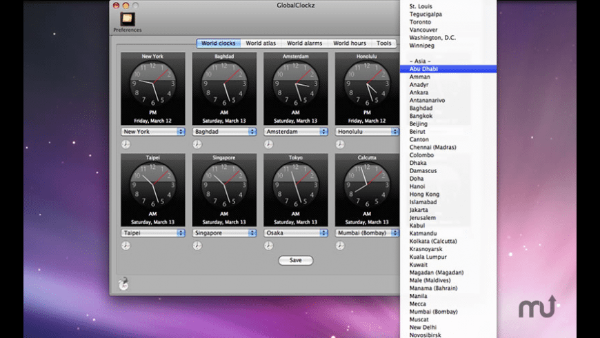 GlobalClockz for Mac - review, screenshots