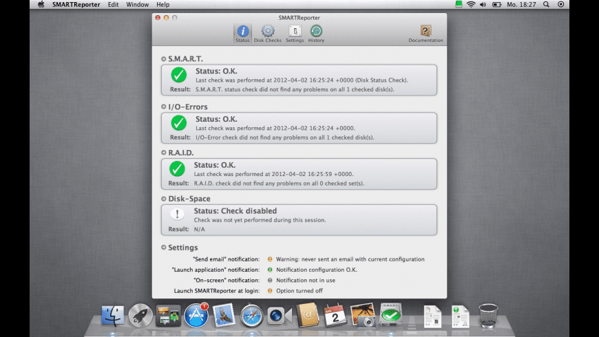 SMARTReporter for Mac - review, screenshots