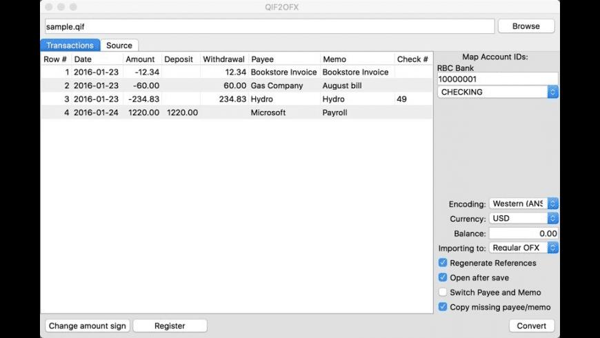 QIF2OFX for Mac - review, screenshots