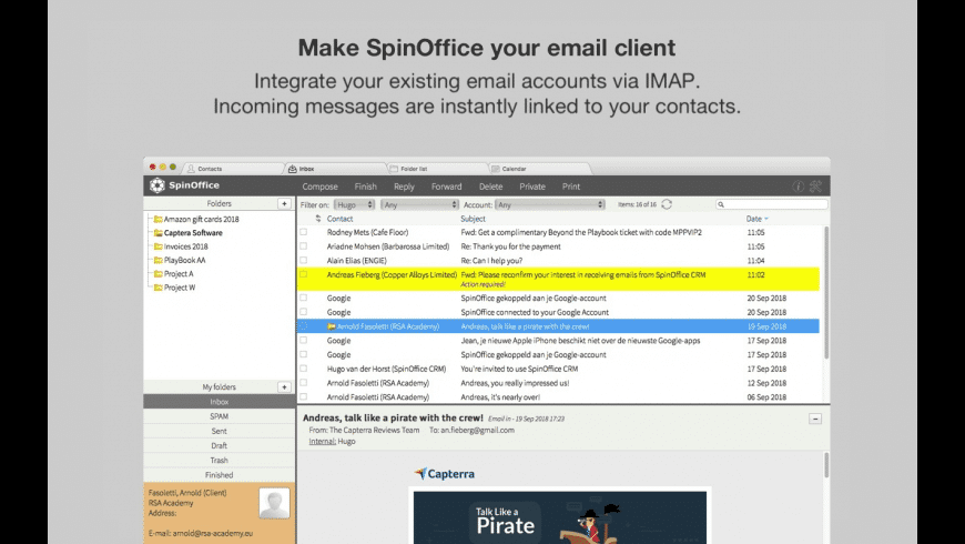 SpinOffice CRM for Mac - review, screenshots