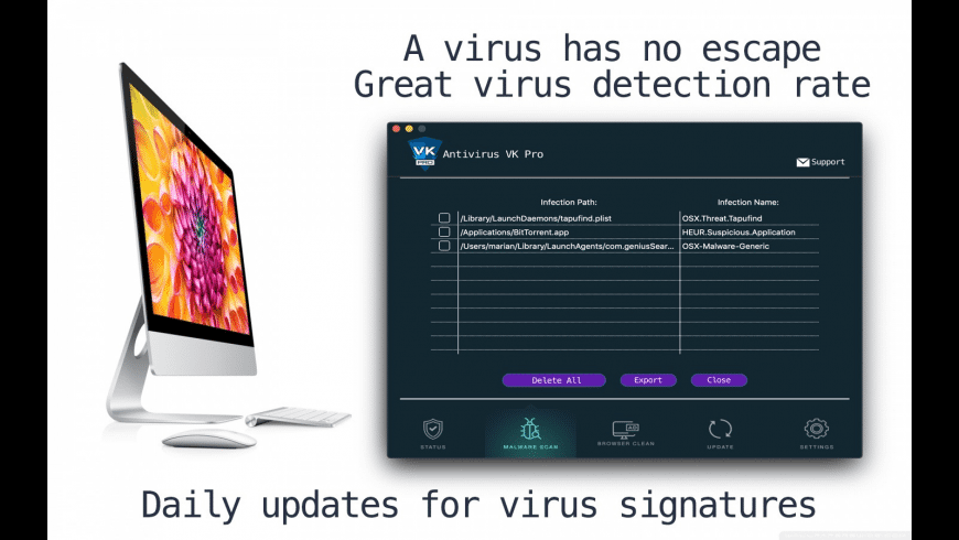 Antivirus VK for Mac - review, screenshots