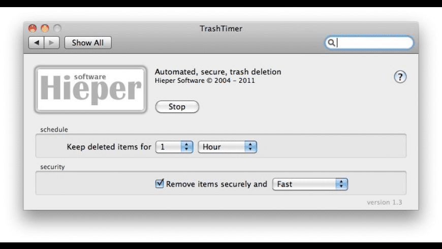 TrashTimer for Mac - review, screenshots
