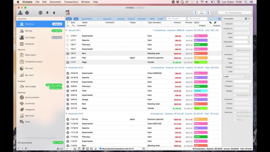 iCompta 6 for Mac - review, screenshots