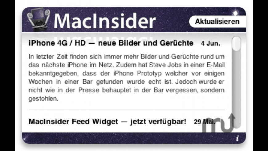 MacInsider Feed Widget for Mac - review, screenshots