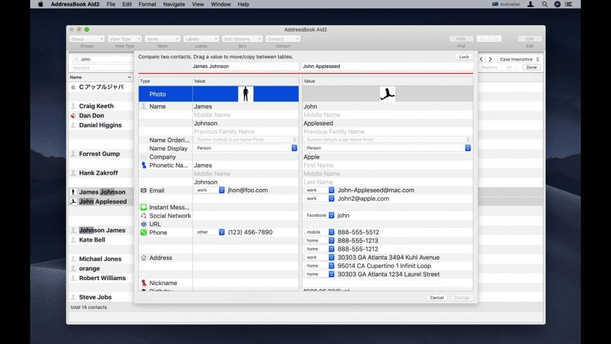 AddressBook Aid2 for Mac - review, screenshots
