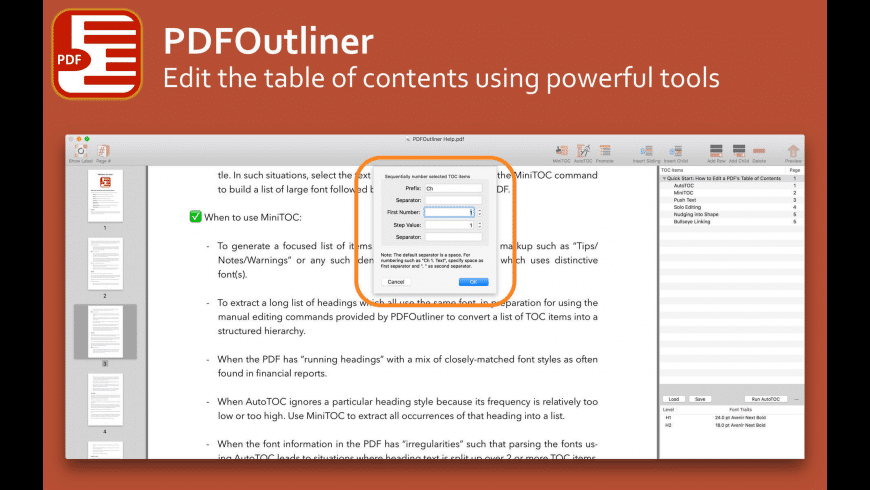 PDFOutliner for Mac - review, screenshots