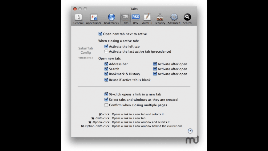 SafariTabConfig for Mac - review, screenshots