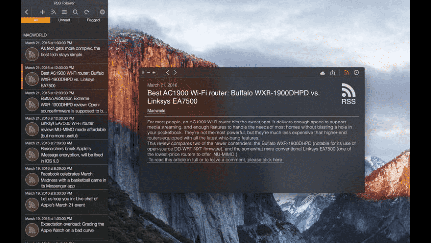 RSS Follower for Mac - review, screenshots
