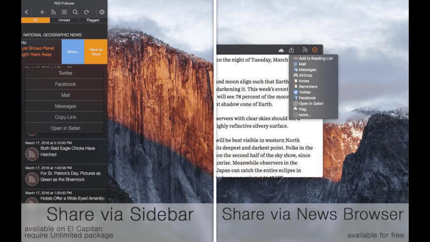RSS Follower for Mac - review, screenshots
