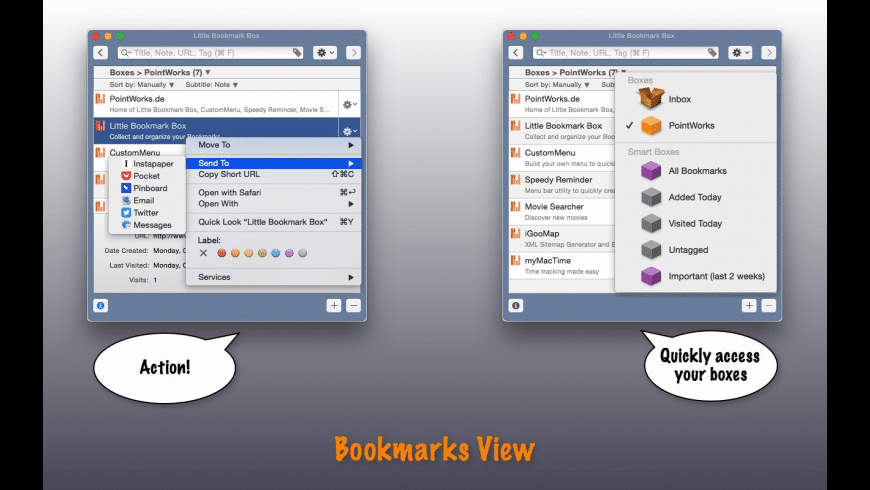 Little Bookmark Box for Mac - review, screenshots