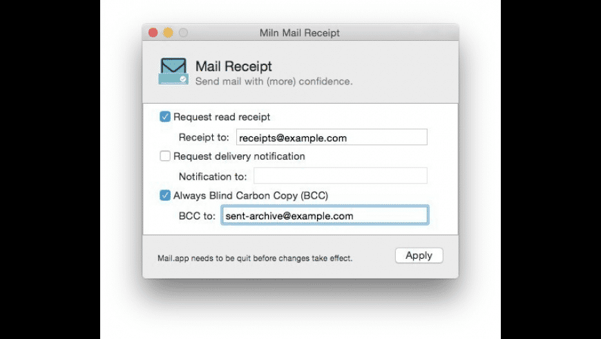 Mail Receipt for Mac - review, screenshots