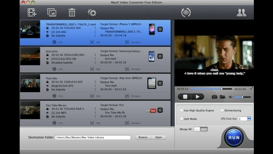MacX Video Converter Free Edition for Mac - review, screenshots